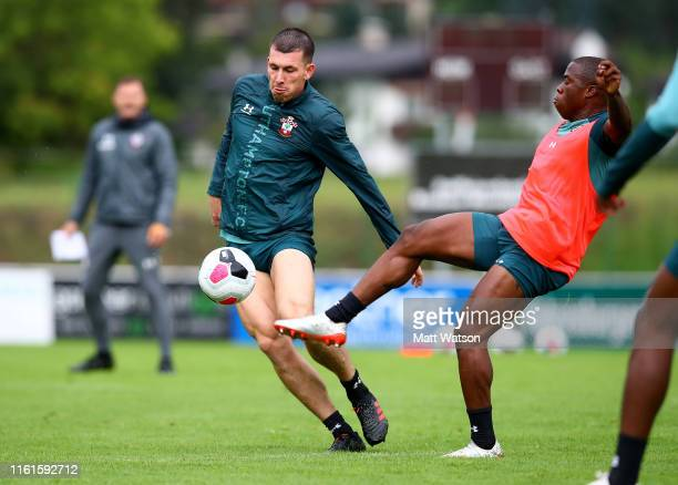 PierreEmile Hojbjerg and Michael Obafemi during a Southampton FC pre season training session on July 12 2019 in Schruns Austria