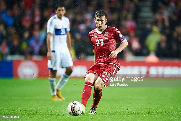 PierreEmile Hojbjerg of Denmark controls the ball during the FIFA World Cup 2018 european qualifier match between Denmark and Armenia at Telia Parken...