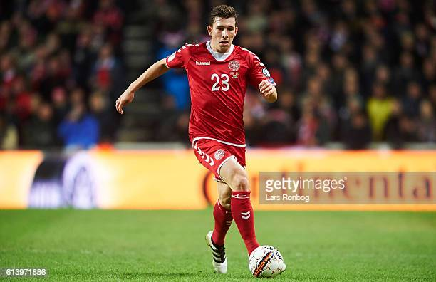 PierreEmile Hojbjerg of Denmark controls the ball during the FIFA World Cup 2018 european qualifier match between Denmark and Montenegro at Telia...