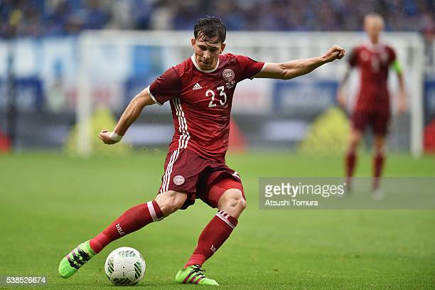 PierreEmile Hojbjerg of Denmark in action during the international friendly match between Denmark and Bulgaria at the Suita City Football Stadium on...