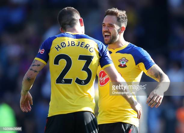 PierreEmile Hojbjerg of Southampton and Danny Ings of Southampton celebrate following their sides victory in the Premier League match between Crystal...