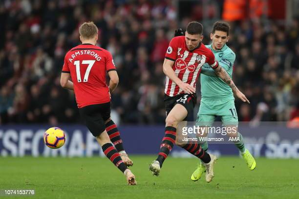 PierreEmile Hojbjerg of Southampton and Lucas Torreira of Arsenal during the Premier League match between Southampton FC and Arsenal FC at St Mary's...