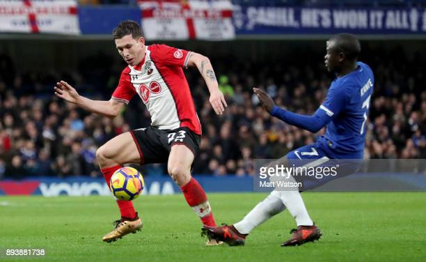 PierreEmile Hojbjerg of Southampton and NâGolo Kante during the Premier League match between Chelsea and Southampton at Stamford Bridge on December...