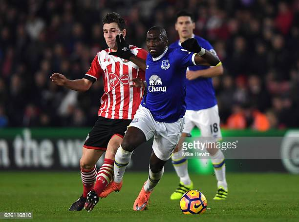 PierreEmile Hojbjerg of Southampton and Yannick Bolasie of Everton battle for possession during the Premier League match between Southampton and...