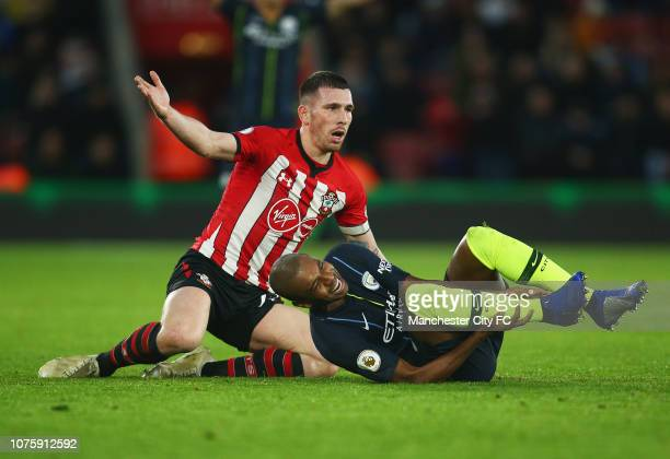 PierreEmile Hojbjerg of Southampton appeals as he fouls Fernandinho of Manchester City and is sent off during the Premier League match between...