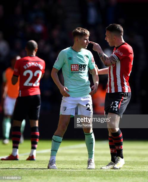 PierreEmile Hojbjerg of Southampton argues with David Brooks of AFC Bournemouth during the Premier League match between Southampton FC and AFC...