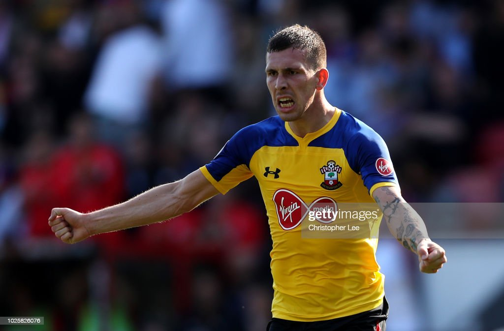 Pierre-Emile Hojbjerg of Southampton celebrates after scoring his team's second goal during the Premier League match between Crystal Palace and Southampton FC at Selhurst Park on September 1, 2018 in London, United Kingdom.