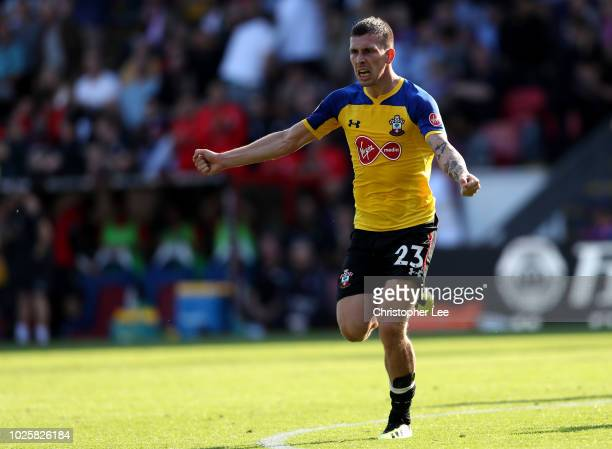 PierreEmile Hojbjerg of Southampton celebrates after scoring his team's second goal during the Premier League match between Crystal Palace and...