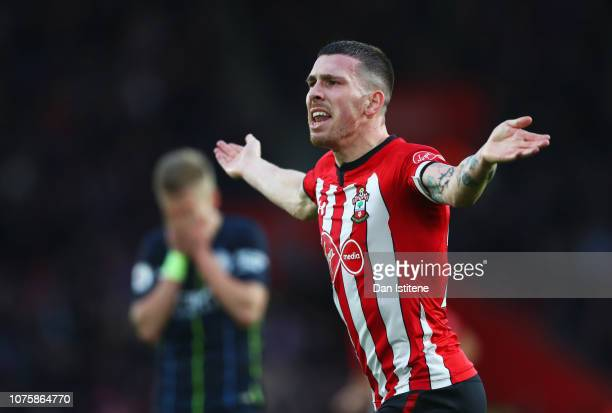 PierreEmile Hojbjerg of Southampton celebrates after scoring his team's first goal during the Premier League match between Southampton FC and...