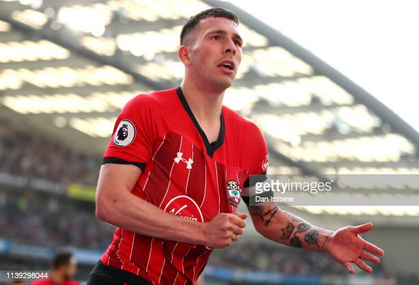 PierreEmile Hojbjerg of Southampton celebrates after scoring his team's first goal during the Premier League match between Brighton Hove Albion and...