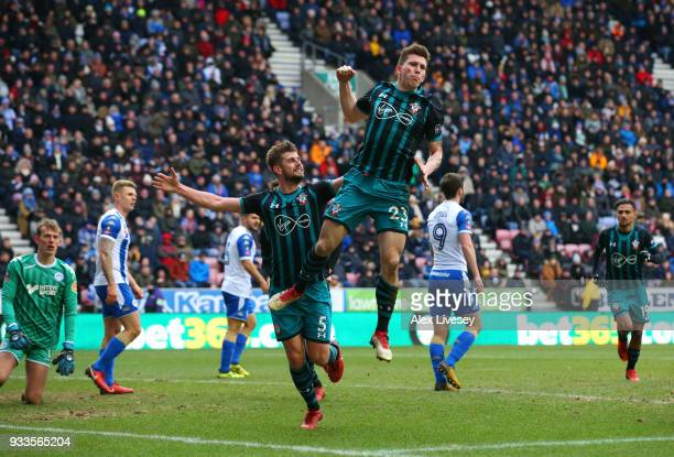 PierreEmile Hojbjerg of Southampton celebrates as he scores their first goal during The Emirates FA Cup Quarter Final match between Wigan Athletic...