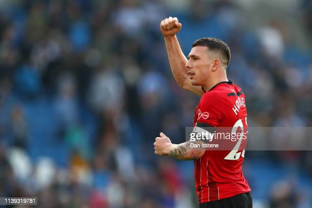PierreEmile Hojbjerg of Southampton celebrates victory after the Premier League match between Brighton Hove Albion and Southampton FC at American...