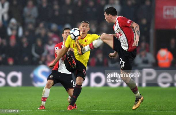 PierreEmile Hojbjerg of Southampton controls the ball despite an incoming challenge from Richarlison de Andrade of Watford during The Emirates FA Cup...