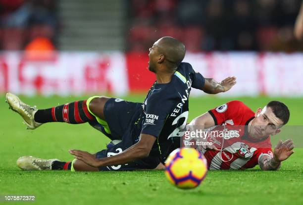 PierreEmile Hojbjerg of Southampton fouls Fernandinho of Manchester City and is sent off during the Premier League match between Southampton FC and...