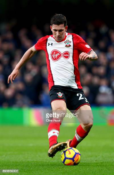PierreEmile Hojbjerg of Southampton in action during the Premier League match between Chelsea and Southampton at Stamford Bridge on December 16 2017...