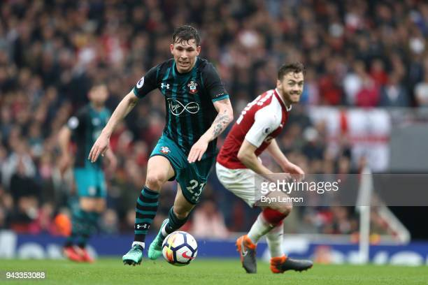 PierreEmile Hojbjerg of Southampton in action during the Premier League match between Arsenal and Southampton at Emirates Stadium on April 8 2018 in...