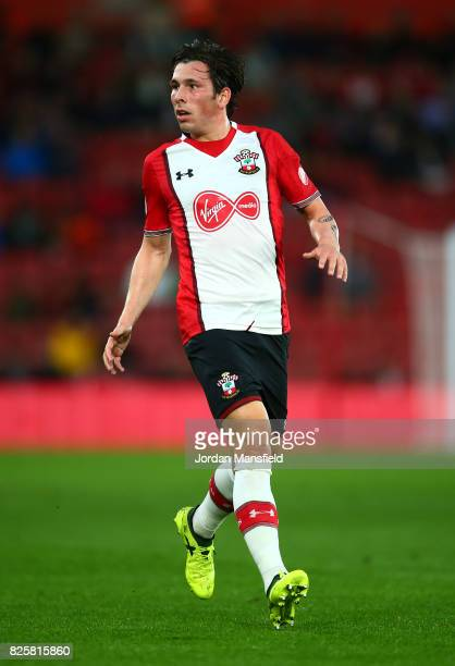 PierreEmile Hojbjerg of Southampton in action during the PreSeason Friendly match between Southampton and FC Augsburg at St Mary's Stadium on August...