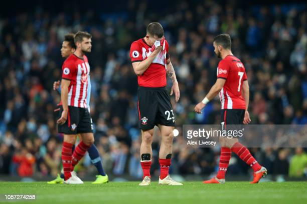 PierreEmile Hojbjerg of Southampton looks dejected during the Premier League match between Manchester City and Southampton FC at Etihad Stadium on...