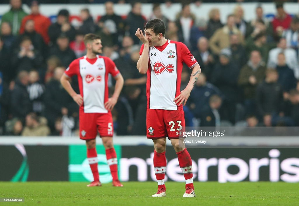 Pierre-Emile Hojbjerg of Southampton looks dejected during the Premier League match between Newcastle United and Southampton at St. James Park on March 10, 2018 in Newcastle upon Tyne, England.