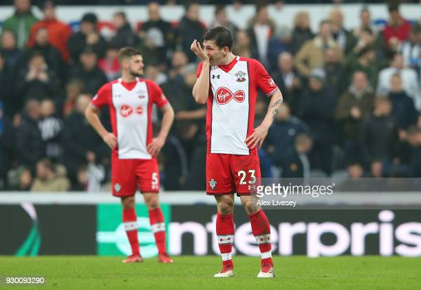 PierreEmile Hojbjerg of Southampton looks dejected during the Premier League match between Newcastle United and Southampton at St James Park on March...