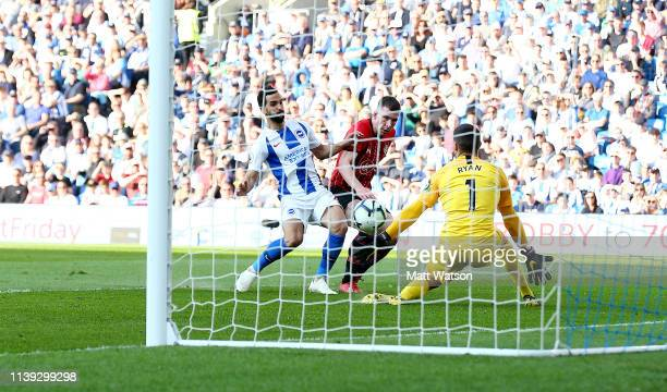 PierreEmile Hojbjerg of Southampton scores during the Premier League match between Brighton Hove Albion and Southampton FC at American Express...