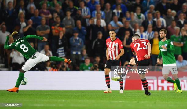 PierreEmile Hojbjerg of Southampton scores his team's first goal during the Premier League match between Southampton and Brighton Hove Albion at St...