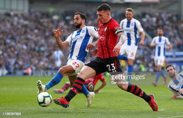 PierreEmile Hojbjerg of Southampton scores his team's first goal during the Premier League match between Brighton Hove Albion and Southampton FC at...