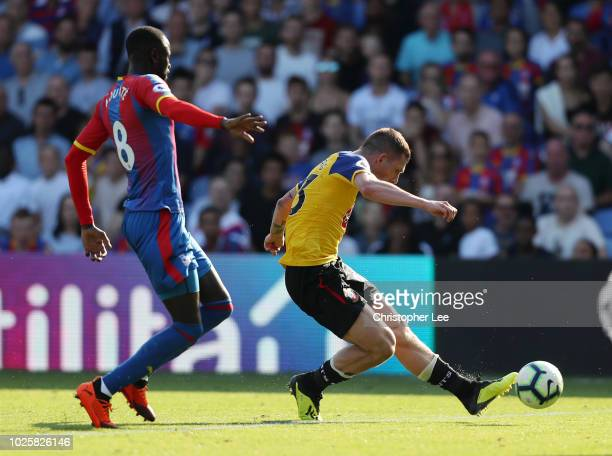 PierreEmile Hojbjerg of Southampton scores his team's second goal during the Premier League match between Crystal Palace and Southampton FC at...
