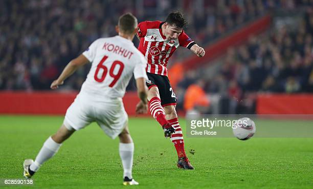 PierreEmile Hojbjerg of Southampton shoots during the UEFA Europa League Group K match between Southampton FC and Hapoel Be'erSheva FC at St Mary's...