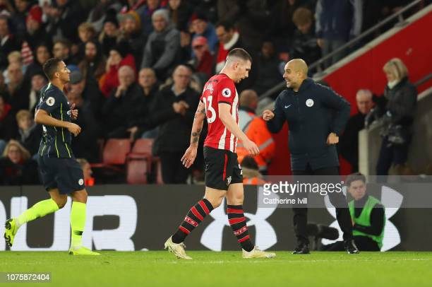 PierreEmile Hojbjerg of Southampton walks off the pitch as he is shown a red card and is sent off during the Premier League match between Southampton...