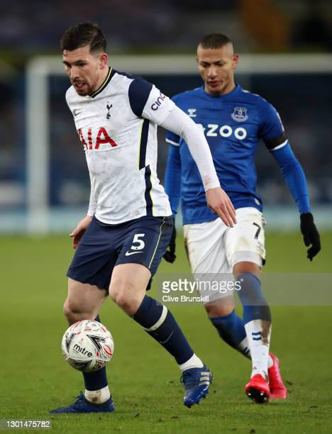 Pierre-Emile Hojbjerg of Tottenham Hotspur in action during The Emirates FA Cup Fifth Round match between Everton and Tottenham Hotspur at Goodison...