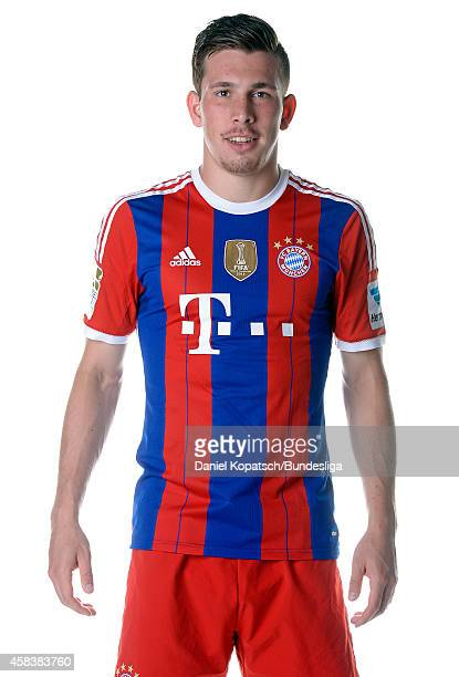 PierreEmile Hojbjerg poses during the FC Bayern Muenchen Team Presentation for DFL on August 9 2014 in Munich Germany