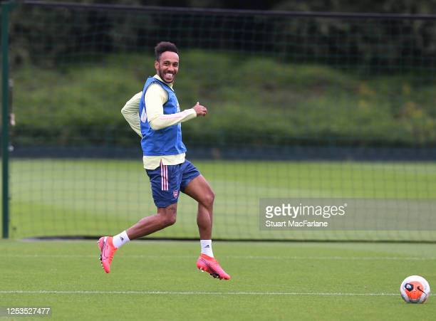 Pierre-Emmerick Aubameyang of Arsenal during a training session at London Colney on June 30, 2020 in St Albans, England.
