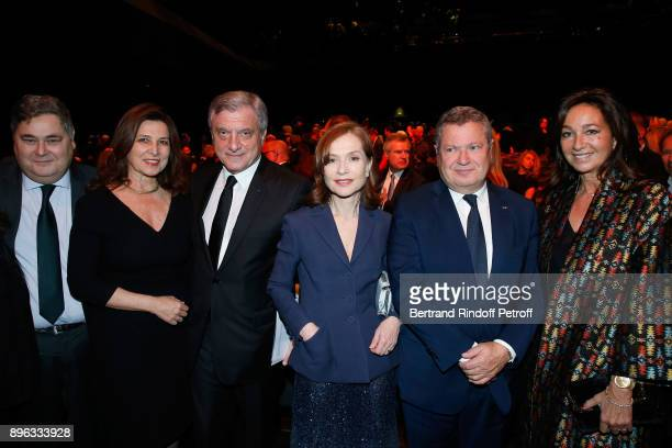 PierreFrancois Veil Ambassador of Israel to France Aliza BinNoun CEO of Dior Sidney Toledano Isabelle Huppert Jean Veil and Katia Toledano attend the...