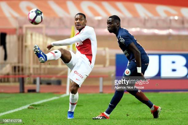 PierreGabriel Ronael of Monaco and Ambroise Oyongo Bitolo of Montpellier during the Ligue 1 match between AS Monaco and Montpellier Herault on...