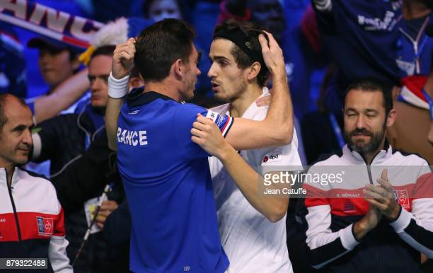 PierreHughes Herbert of France celebrates winning the doubles match with Nicolas Mahut on day 2 of the Davis Cup World Group final between France and...