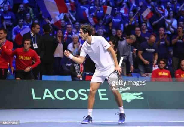 PierreHughes Herbert of France during the doubles match on day 2 of the Davis Cup World Group final between France and Belgium at Stade Pierre Mauroy...