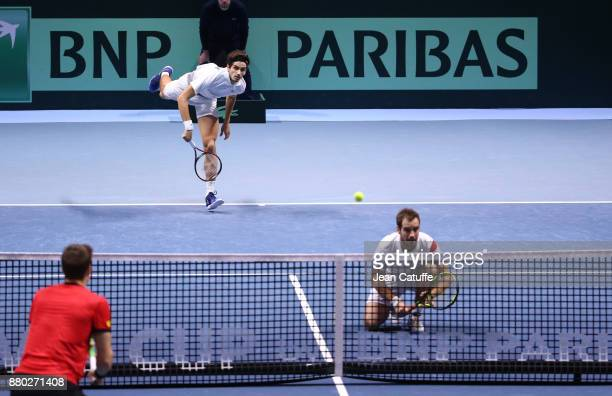 PierreHughes Herbert Richard Gasquet of France during the doubles match on day 2 of the Davis Cup World Group final between France and Belgium at...