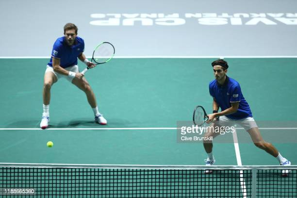 PierreHugues Herbert and Nicolas Mahut of France in action during Day 2 of the 2019 Davis Cup at La Caja Magica on November 19 2019 in Madrid Spain