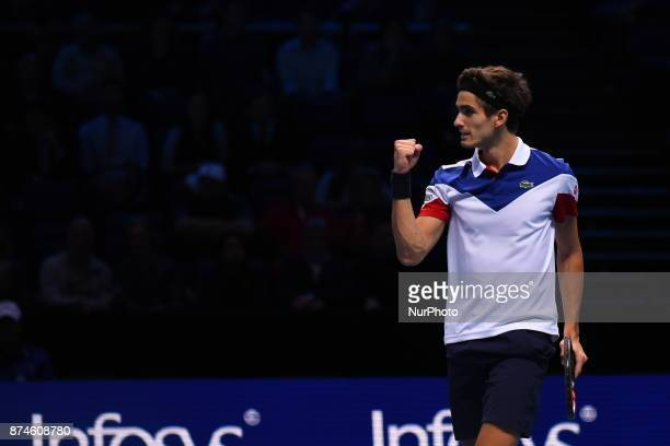 PierreHugues Herbert and Nicolas Mahut of France play against USA's Ryan Harrison and New Zealand's Michael Venus during their men's doubles...