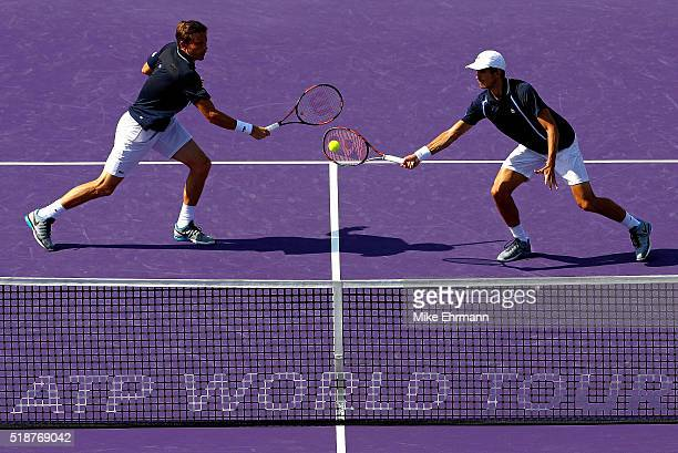 PierreHugues Herbert and Nicolas Mahut of France plays in the Doubles Final against Raven Klaasen of South Africa and Rajeev Ram during Day 13 of the...