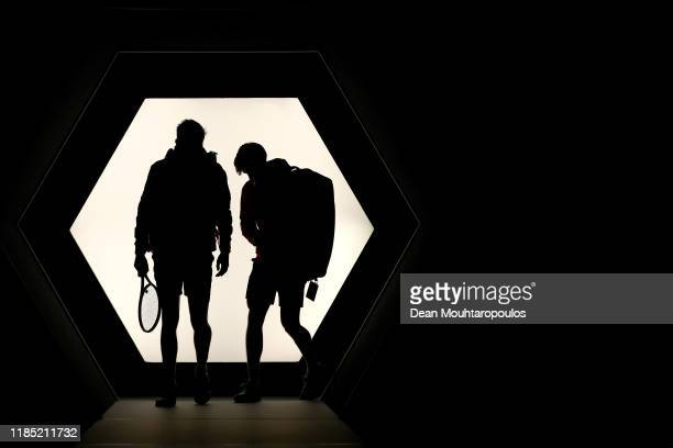 Pierre-Hugues Herbert and Nicolas Mahut of France walk out the players tunnel to play in their Final match against Karen Khachanov and Andrey Rublev...