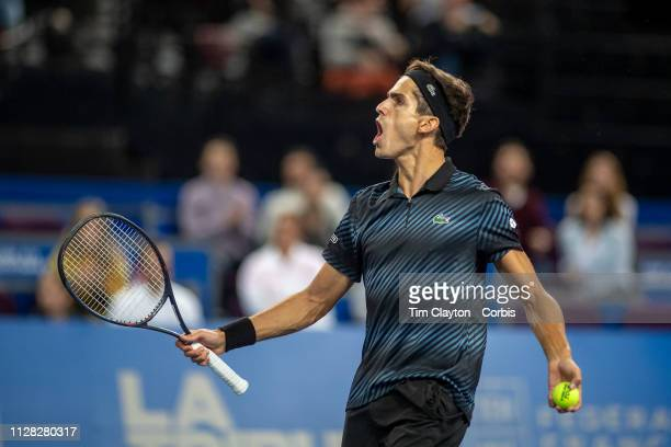 PierreHugues Herbert of France celebrates his win against Denis Shapovalov of Canada in the Men's QuarterFinal match during the Open Sud de France...