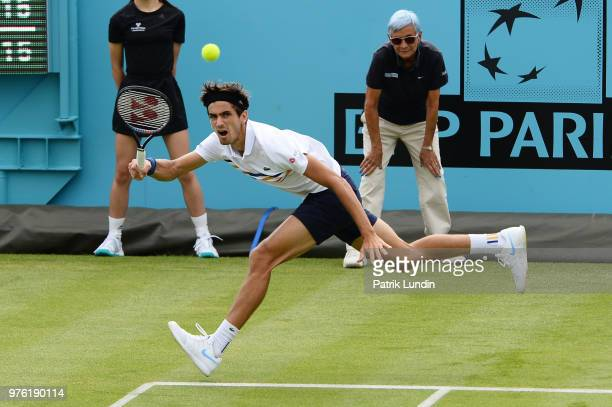 PierreHugues Herbert of France hits a forehand during the qualifying match against Thanasi Kokkinakis of Australia during qualifying day 1 of the...