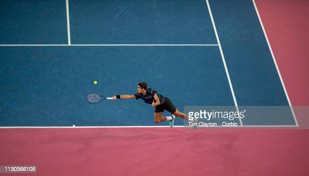 PierreHugues Herbert of France in action against Denis Shapovalov of Canada in the Men's QuarterFinal match during the Open Sud de France Tennis...
