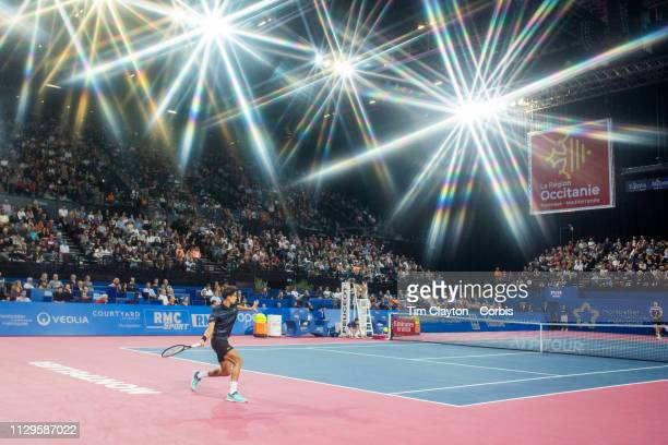 PierreHugues Herbert of France in action against Tomas Berdych of the Czech Republic in the Men's SemiFinal match during the Open Sud de France...