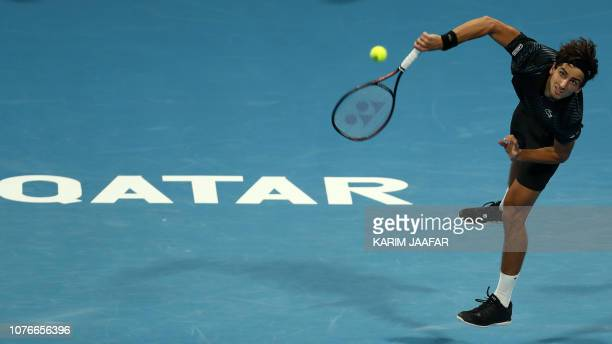 TOPSHOT PierreHugues Herbert of France returns the ball to Tomas Berdych of the Czech Republic during their ATP Qatar Open tennis quarterfinal match...