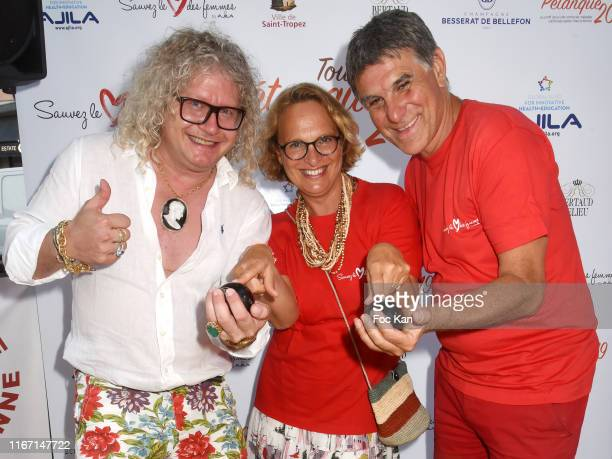 "Pierre-Jean Chalencon, AJILA president Isabelle Weill and and TV presenter Tex attend the Red Petanque 2019 ""Sauvez Le Coeur des Femmes"" Auction..."
