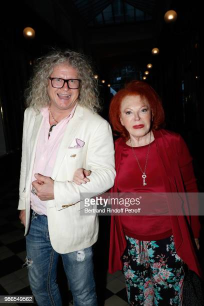 PierreJean Chalencon and singer Regine attend the Tan Giudicelli Exhibition of drawings and accessories preview at Galerie Pierre Passebon on June 28...