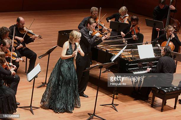 """Pierre-Laurent Aimard on piano leading the Chamber Orchestra of Europe in Bach's """"Brandenburg Concerto No. 5 in D Major"""" at Alice Tully Hall on..."""